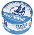 Petit Navire : thon au naturel : Thon entier au naturel : 140 g