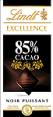 Lindt : Excellence Noir - Chocolat noir de dégustation 85% de cacao  : Noir de dégustation : 100 g