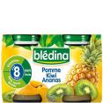 Bledina : Pots pomme kiwi ananas (dès 8 mois )  : Petits pots de fruits : 2 x 130 g