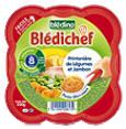 Bledichef : Printanière de légumes - jambon - Dès 8 mois  : Légumes-viande : 200 g