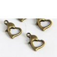 Clasps : bronze color : Heart Lobster : 12mm