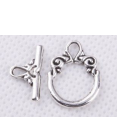 Clasps : toggle clasps ring : Silver tone : 14x20mm