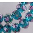 Perle : à facettes : Incrustation fleurs : vert paon