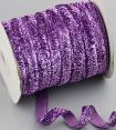 Ruban velours : violet métallisé : 10mm large : 1 mètre