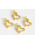 Clasps : golden platted : Heart Lobster : 12mm