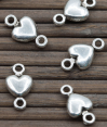 Connector : silver plated : Heart shape : 10mm