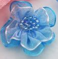 Fleur : organza : Bleu : 30 mm