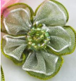 Fleur : organza : Vert : 30 mm