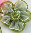 Organza : flower : Green : 30mm