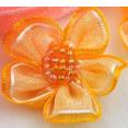 Fleur : organza : Jaune-orange : 30 mm