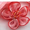 Fleur : organza : Rouge : 30 mm