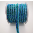 Ribbon : metallic velvet : Blue, turquoise & silver : 10 mm