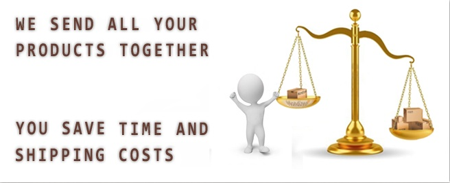 We send all your products together, you save time and shipping costs